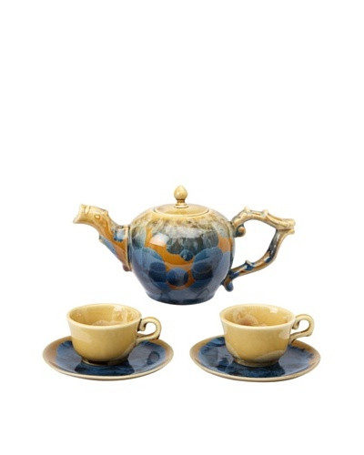 Crystalline Low Round-Shape Decorative Tea Set, Blue/Yellow
