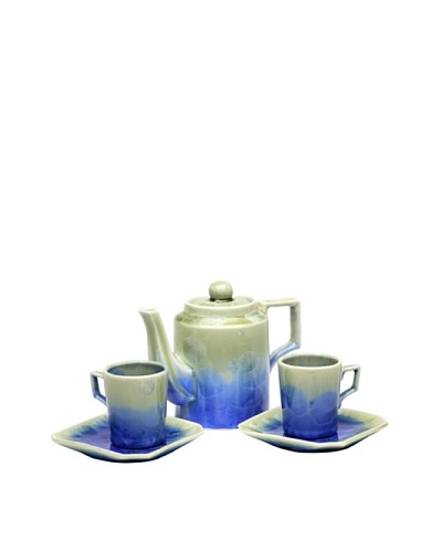 Crystalline Square-Shape Decorative Tea Set, Green