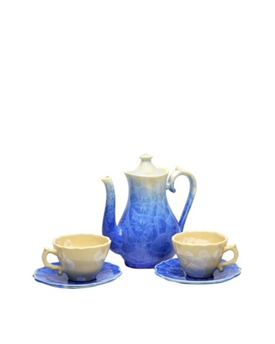 Crystalline High Round-Shape Decorative Tea Set, Blue
