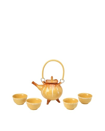 Crystalline Decorative Tea Set, Yellow