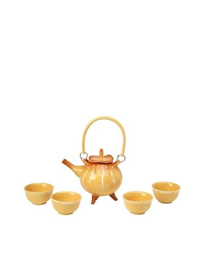 Crystalline Decorative Tea Set, Yellow