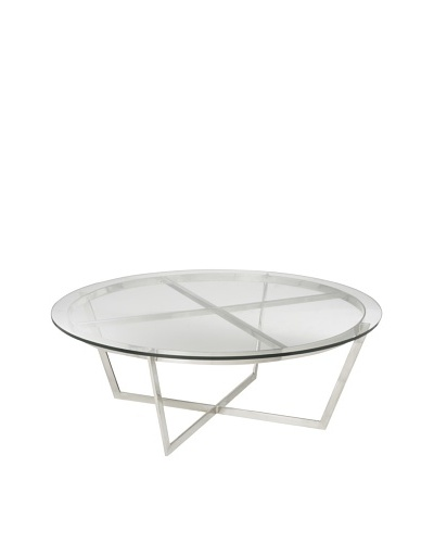 Cubo Stainless Steel and Glass Coffee Table, Silver