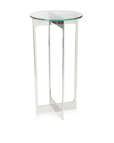 Cubo Stainless Steel with Tempered Glass Side Table, Silver