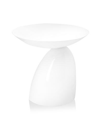 Cubo Fiberglass Side Table, White