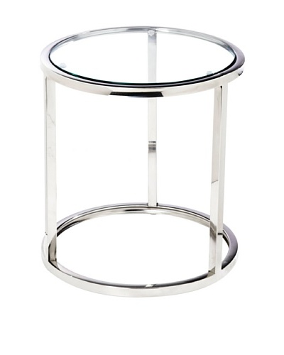 Cubo Stainless Steel and Tempered Glass Side Table, Silver