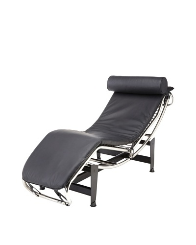 Cubo Leather and Stainless Steel Chaise, Black