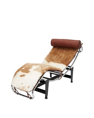 Cubo Pony Skin and Stainless Steel Chaise, Brown/White