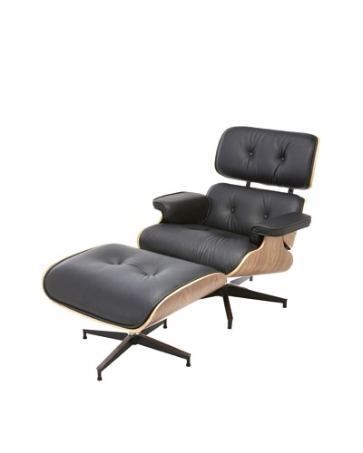 Cubo Leather Chair and Ottoman, Black