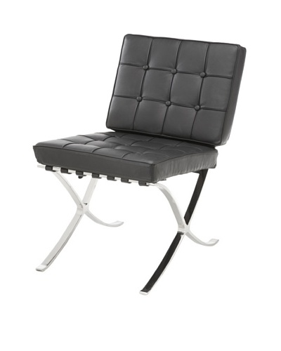 Cubo Leather and Stainless Steel Chair, Black