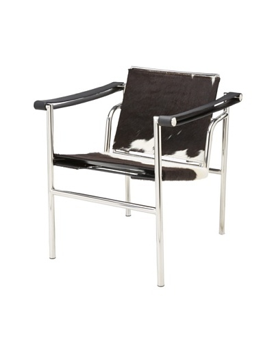 Cubo Pony Skin and Stainless Steel Chair, Brown/White
