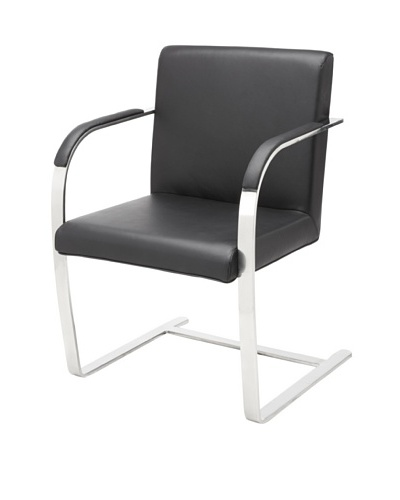 Cubo Leather Chair with Stainless Steel Frame, Black