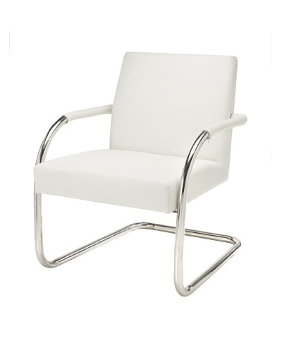 Cubo Leather Chair with Stainless Steel Frame, White