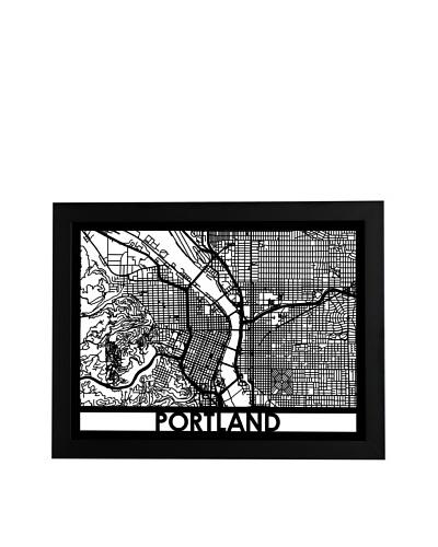 Cut Maps Portland Framed 3-D Street Map