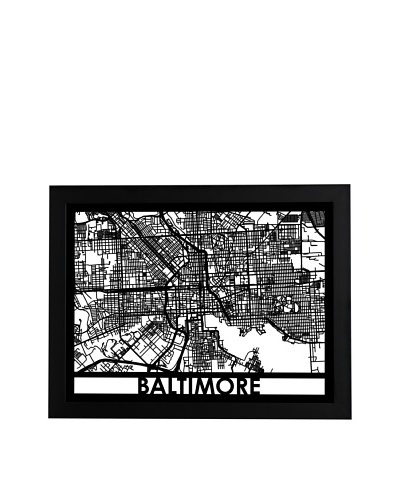 Cut Maps Baltimore Framed 3-D Street Map