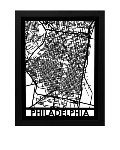 Cut Maps Philadelphia Framed 3-D Street Map