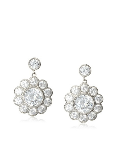 CZ by Kenneth Jay Lane Millgrain Daisy Drop Earrings