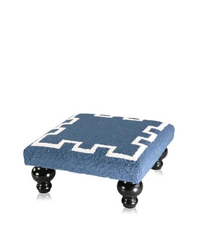 D.L. Rhein Simple Greek Key Footstool, Blue