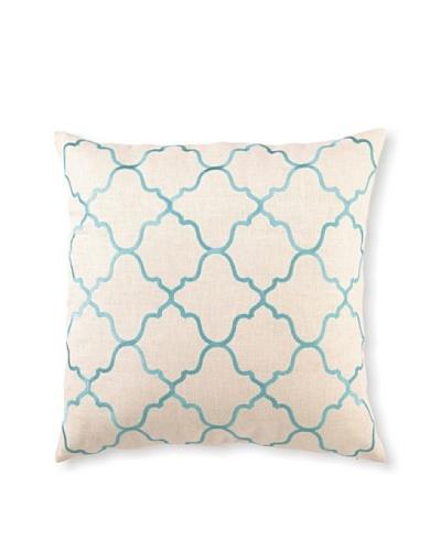 "D.L Rhein Moroccan Tile Embroidery Pillow, Turquiose, 20"" x 20"""