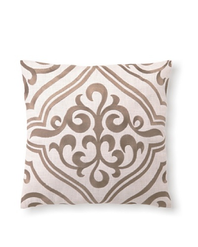 D.L Rhein Tile Embroidery Pillow, Taupe, 16 x 16