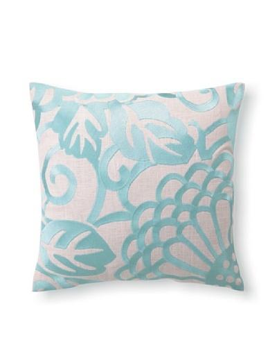"D.L Rhein Chrysanthemum Embroidery Pillow, Robin's Egg, 16"" x 16"""