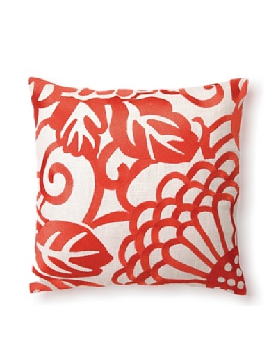 D.L Rhein Chrysanthemum Embroidery Pillow, Mango, 16 x 16