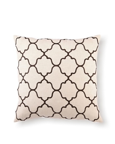 D.L Rhein Moroccan Tile Embroidery Pillow, Chocolate, 20 x 20