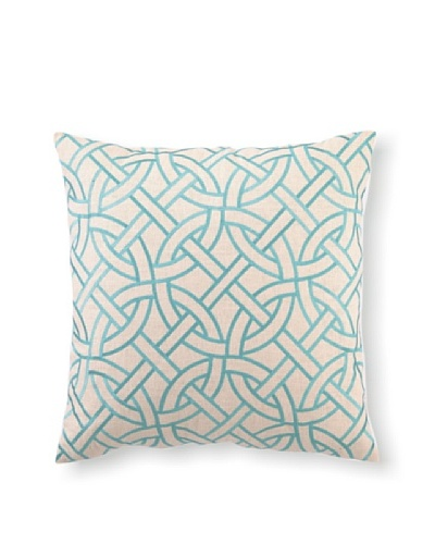 D.L Rhein Circle Link Embroidery Pillow, Turquiose, 20 x 20