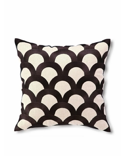 D.L Rhein Scales Embroidery Pillow, Chocolate, 16 x 16