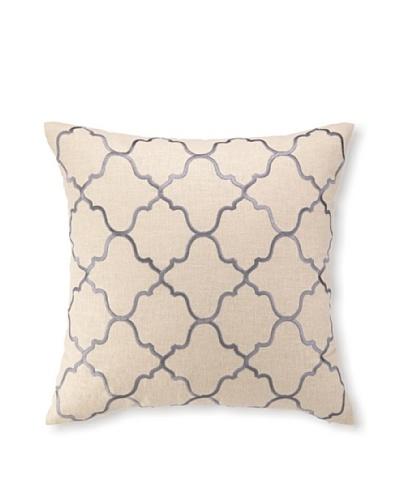 D.L Rhein Moroccan Tile Embroidery Pillow, Granite, 20 x 20