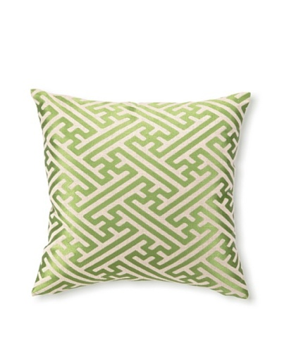 D.L Rhein Cross-Hatch Embroidery Pillow, Avocado, 16 x 16