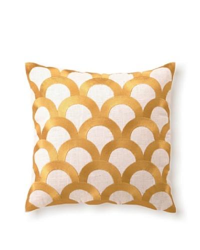 D.L Rhein Scales Embroidery Pillow, Citron, 16 x 16