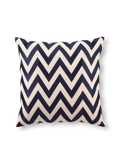 D.L Rhein Zig-Zag Embroidery Pillow, Navy, 20 x 20