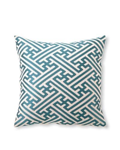 D.L Rhein Cross-Hatch Embroidery Pillow, Teal, 16 x 16