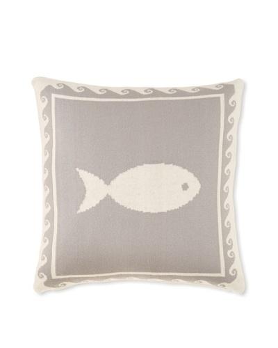 Darzzi Fish Pillow, Grey, 16 x 16