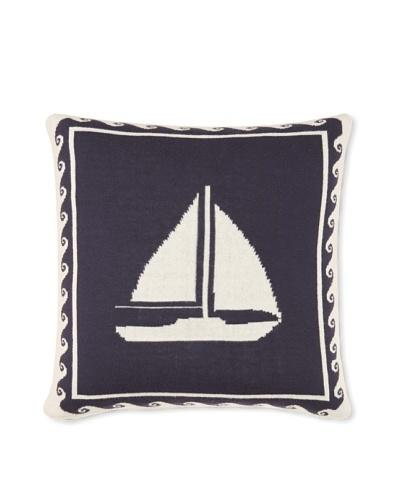 Darzzi Sail Boat Pillow, Navy, 16 x 16