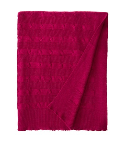 Darzzi Cable Stripe Throw, Fuchsia