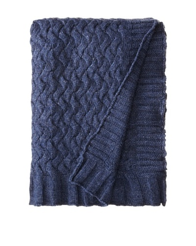 Darzzi Braid Knit Throw, Navy