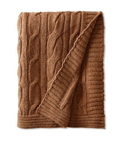 Darzzi Broad Cable Throw, Brown
