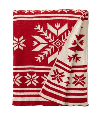 Darzzi Majestic Snowflake Throw, Red