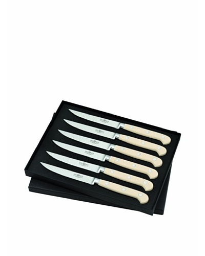Del Ben 6-Piece Forged Ivory Riveted Resin Handle Steak Knife Set