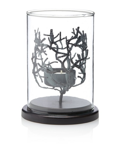 Diamond Reef Metal & Glass Coral Design Tealight Holder