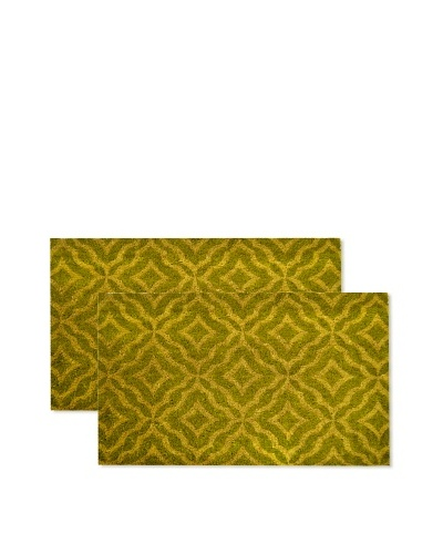 Raymond Waites Set of 2 Florence Coir Doormats, Lime