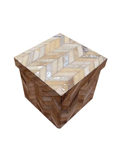Design Accents Collapsible Box with Chevron Cowhide, Ivory/Silver, 16