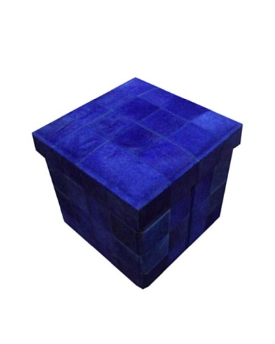 Design Accents Collapsible Box with Cowhide Squares, Purple, 17""