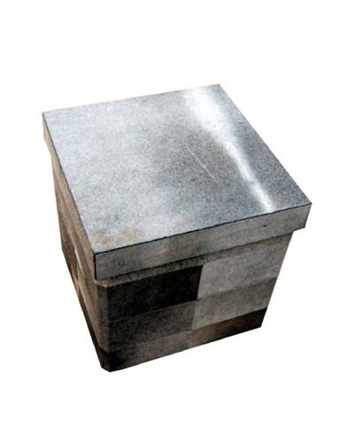Design Accents Collapsible Box With Cowhide Squares Grey