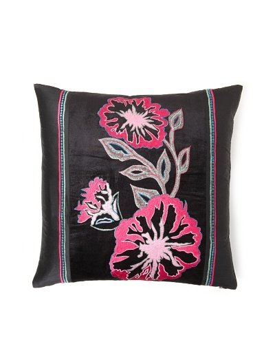 "Design Accents Fuchsia Flower, Black, 20"" x 20"""