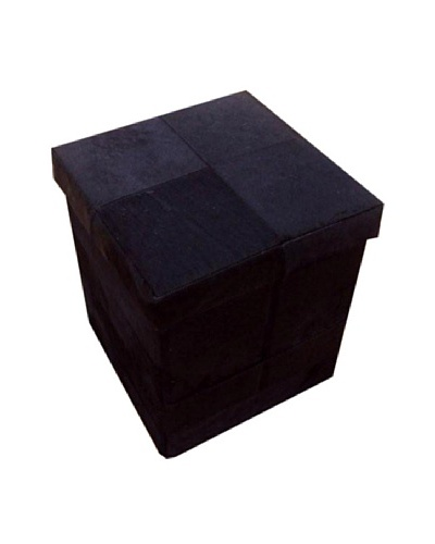 Design Accents Collapsible Box with Cowhide Squares, Black, 17