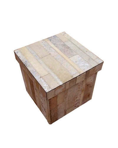 Design Accents Collapsible Box with Cowhide Stripes, Ivory/Silver, 16