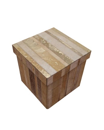 Design Accents Collapsible Box with Cowhide Stripes, Beige/Gold, 16