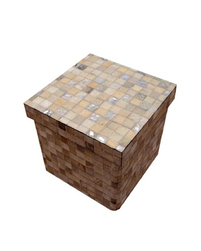 Design Accents Collapsible Box with Cowhide Squares, Ivory/Silver, 16